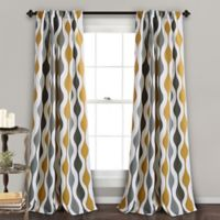 Mid Century Geo 84-Inch Rod Pocket/Back Tab Room Darkening Window Curtain Panel Pair in Gold/Grey
