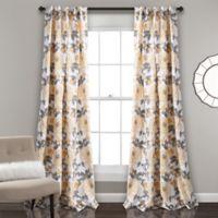 Aromo Garden 84-Inch Rod Pocket Room Darkening Window Curtain Panel Pair in Yellow