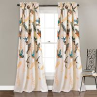 Bird Breeze 84-Inch Rod Pocket Room Darkening Window Curtain Panel Pair in Ivory/Tan