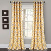 Diamond Ikat 84-Inch Grommet Room Darkening Window Curtain Panel Pair in Yellow