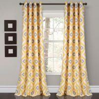 Diamond Ikat 84-Inch Grommet Room Darkening Window Curtain Panel Pair in Yellow