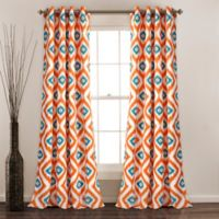 Diamond Ikat 84-Inch Grommet Room Darkening Window Curtain Panel Pair in Turquoise