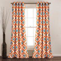 Diamond Ikat 84-Inch Grommet Room Darkening Window Curtain Panel Pair in Turquoise