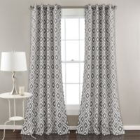 Diamond Geometric 84-Inch Grommet Room Darkening Window Curtain Panel Pair in Grey