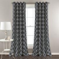 Diamond Geometric 84-Inch Grommet Room Darkening Window Curtain Panel Pair in Black