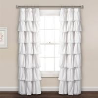 Lace Ruffle 84-Inch Rod Pocket Window Curtain Panel in White