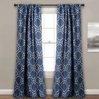 Kane Geo 84-Inch Rod Pocket/Back Tab Room Darkening Window Curtain Panel Pair in Navy