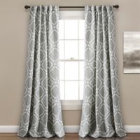 Kane Geo 84-Inch Rod Pocket/Back Tab Room Darkening Window Curtain Panel Pair in Grey
