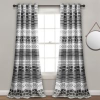 Hygge Geo 84-Inch Grommet Room Darkening Window Curtain Panel Pair in Black