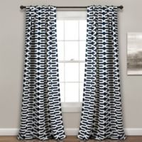 Austin Geo 84-Inch Rod Pocket/Back Tab Room Darkening Window Curtain Panel Pair in Navy