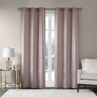 Madison Park Luxe Chenille 63-Inch Grommet Window Curtain Panel Pair in Blush