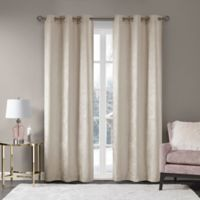 Madison Park Luxe Chenille 63-Inch Grommet Window Curtain Panel Pair in Ivory