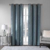 Madison Park Luxe Chenille 63-Inch Grommet Window Curtain Panel Pair in Aqua