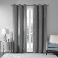 Madison Park Luxe Chenille 63-Inch Grommet Window Curtain Panel Pair in Grey
