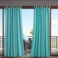 Madison Park Tybee 84-Inch Tab Top 3M Scotchgard Outdoor Curtain Panel in Aqua