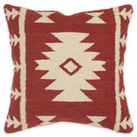 Rizzy Home Arrow Stripes Square Indoor/Outdoor Throw Pillow in Red/Ivory