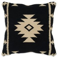 Rizzy Home Arrow Stripes Square Indoor/Outdoor Throw Pillow in in Black/Ivory