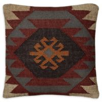 Rizzy Home Chevron Medallion Square Indoor/Outdoor Throw Pillow in Green/Brown