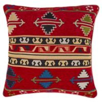 Aztex-Inspired Chenille Square Throw Pillow in Red