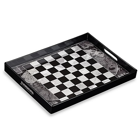 Black Checker Serving Tray