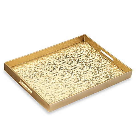 Mosaic 14-Inch x 19-Inch Rectangular Serving Tray in Gold
