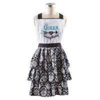 """""""Queen of Everything"""" Apron in Black/White"""