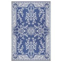 Mad Mats®® Oriental Garland 5' X 8' Flat-weave Area Rug in Blue/white