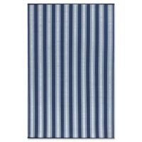 Mad Mats®® Vertical Stripes 4' X 6' Flat-weave Area Rug in Blue/white