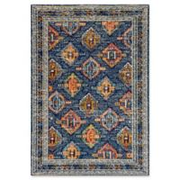 "Dynamic® Geo 5'3"" X 7'7"" Powerloomed Area Rug in Blue/orange"