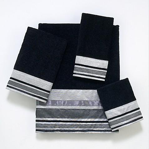 Avanti Geneva Bath Towel Collection In Black Silver Bed
