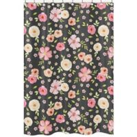 Sweet Jojo DesignsR Watercolor Floral Shower Curtain In Black Pink