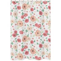 Sweet Jojo Designs® Watercolor Floral Shower Curtain in Peach/Green