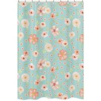 Sweet Jojo Designs Watercolor Floral Shower Curtain in Turquoise/Peach