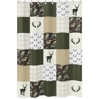 Sweet Jojo Designs Woodland Camo Shower Curtain in Green/White