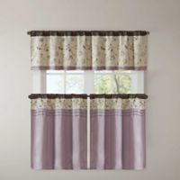 Madison Park Serene Embroidered 24-Inch Kitchen Window Curtain Tier Pair in Purple