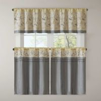 Madison Park Serene Embroidered 36-Inch Kitchen Window Curtain Tier Pair in Yellow