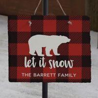 Cozy Cabin Buffalo Check Personalized Slate Sign