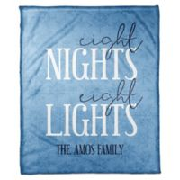 "Designs Direct Hanukkah ""Eight Nights, Eight Lights"" Throw Blanket in Blue"