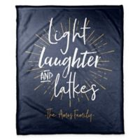 "Designs Direct Hanukkah ""Light, Laughter, and Latkes"" Throw Blanket in Blue"