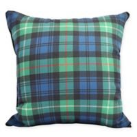 E by Design Winter Resort Tartan Plaid Square Throw Pillow in Navy