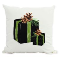 E By Design Winter Resort Gift Wrapped Throw Pillow in Black