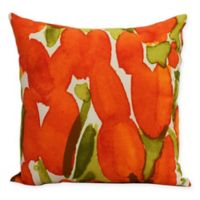 E by Design Market Flowers Sunset Tulip Square Throw Pillow in Orange