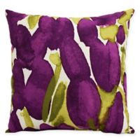 E by Design Market Flowers Sunset Tulip Square Throw Pillow in Purple