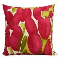 E by Design Market Flowers Sunset Tulip Square Throw Pillow in Red