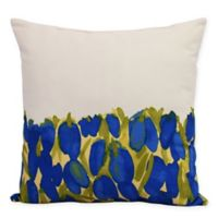 E by Design Market Flowers Sunset Tulip Garden Square Throw Pillow in Blue
