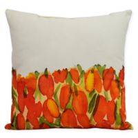 E by Design Market Flowers Sunset Tulip Garden Square Throw Pillow in Orange
