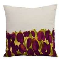 E by Design Market Flowers Sunset Tulip Garden Square Throw Pillow in Purple