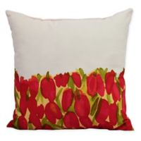 E by Design Market Flowers Sunset Tulip Garden Square Throw Pillow in Red