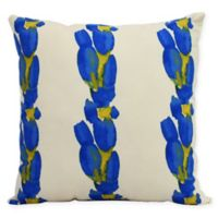 E by Design Market Flowers Sunset Tulip Stripe Square Throw Pillow in Blue