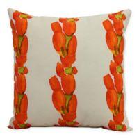 E by Design Market Flowers Sunset Tulip Stripe Square Throw Pillow in Orange